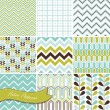 A set of seamless retro Zig zag and floral patterns — Stock Vector #16794339