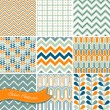 A set of seamless retro Zig zag and floral patterns — Stock Vector #16794417