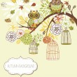 Royalty-Free Stock Vector: Owl autumn floral background. Owls out of their cages concept vector