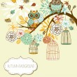 Owl autumn floral background. Owls out of their cages concept vector — Vector de stock #16794673