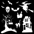 Royalty-Free Stock Vectorielle: Set of halloween silhouettes on the white background