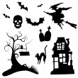 Set of halloween silhouettes on the white background — Imagen vectorial