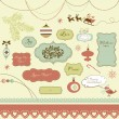 Royalty-Free Stock Vectorafbeeldingen: A set of Christmas scrapbook elements, vintage frames, ribbons, ornaments