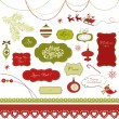 A set of Christmas scrapbook elements, vintage frames, ribbons, ornaments - Stok Vektr
