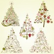Christmas tree collection. Vintage, retro, cute, calligraphic - all type of hand drawn trees — 图库矢量图片