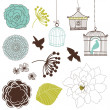 Stock Vector: Set of birds, flowers and birdcages