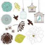 zestaw ptaków, kwiatów i klatki dla ptaków — Wektor stockowy