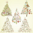 Royalty-Free Stock Obraz wektorowy: Christmas tree collection. Vintage, retro, cute, calligraphic - all type of hand drawn trees