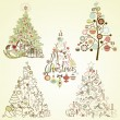 Royalty-Free Stock Vektorfiler: Christmas tree collection. Vintage, retro, cute, calligraphic - all type of hand drawn trees
