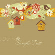 Beautiful Autumn background with bird houses, birds and flowers — Stock Vector