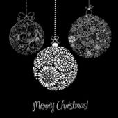 Black and White Christmas ornaments — Vector de stock