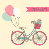 Bicycle with balloons and a basket full of flowers, Romantic Birthday card — Wektor stockowy