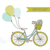 Bicycle with balloons and a basket full of flowers, Romantic Birthday card — Stock Vector