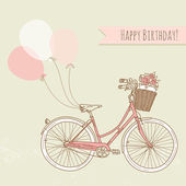 Bicycle with balloons and a basket full of flowers, Romantic Birthday card — 图库矢量图片