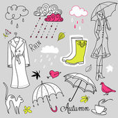 Rainy autumn days doodles — 图库矢量图片