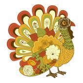幸せな感謝祭美しいトルコ カード — ストックベクタ