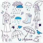 Doodle deszczowe jesienne dni — Wektor stockowy
