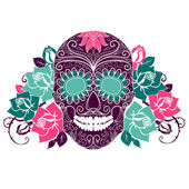 Skull and roses, Colorful Day of the Dead card — ストックベクタ