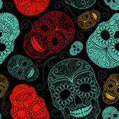 Seamless Blue, Black and Red background with skulls — Vecteur