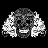 Skull and roses, black and white Day of the Dead card — Stock Vector