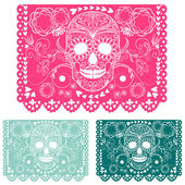 Day of the dead decoration. Papel Picado — 图库矢量图片