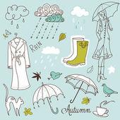 Rainy autumn days doodles — Stock Vector