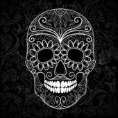Dag van de dood zwarte en witte schedel — Stockvector