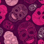 Seamless pink and purple background with skulls — Stock Vector