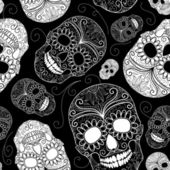 Seamless black and white background with skulls — Stok Vektör