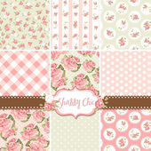 Shabby Chic Rose Patterns and seamless backgrounds. Ideal for printing onto fabric and paper or scrap booking. — Stockvector
