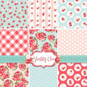 Shabby Chic Rose Patterns and seamless backgrounds. Ideal for printing onto fabric and paper or scrap booking. — Vecteur
