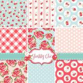 Shabby chic rosa patrones y fondos sin fisuras. ideal para la impresión sobre tela y papel o desecho de reserva. — Vector de stock