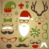 Retro Party set - Santa Claus beard, hats, deer antlers, bow, glasses, lips, mustaches — Vecteur