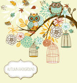 Owl autumn floral background. Owls out of their cages concept vector — Wektor stockowy