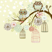 Owl winter floral background. Owls out of their cages concept vector — Stock Vector