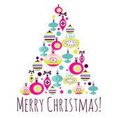 Beautiful Christmas tree illustration. Christmas Card — Stockvektor