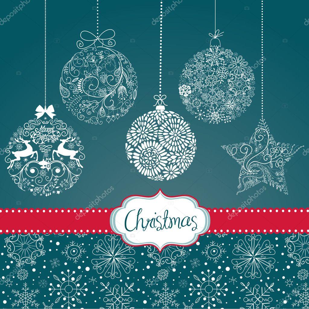 Azul y blanco adornos navide os plantilla de tarjeta - Plantillas adornos navidenos ...