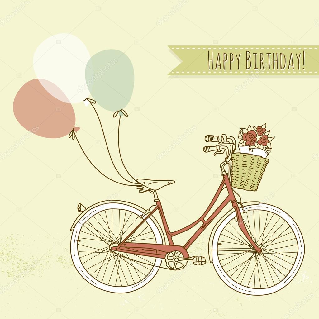 自行车用气球和一篮鲜花,浪漫的生日贺卡 — 矢量图片作者 alisafoyti
