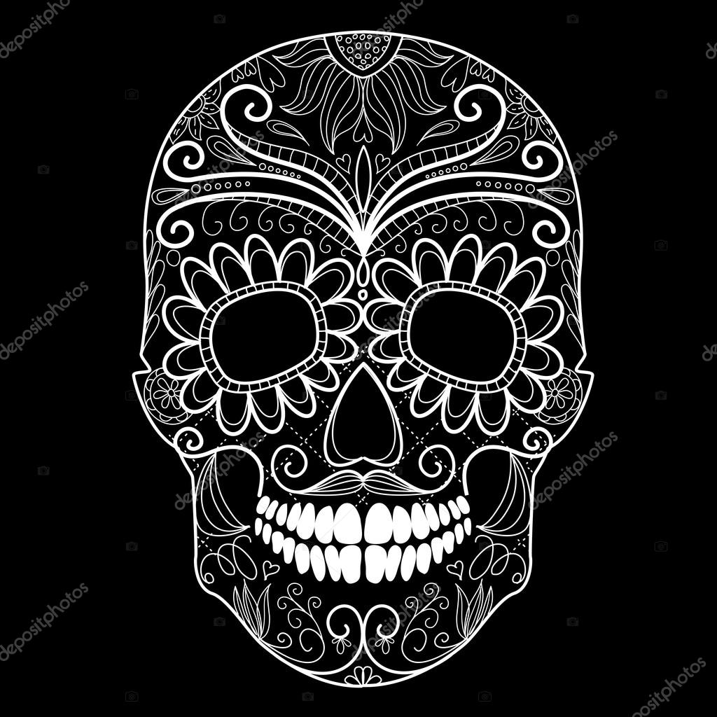 Day of The Dead black and white Skull - Stock Illustration