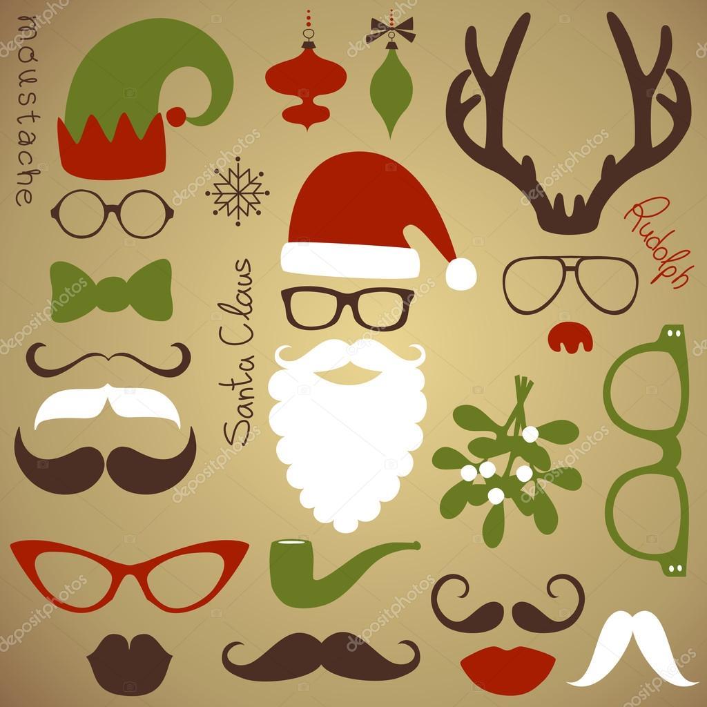 复古方集-圣诞老人胡子, 帽子, 鹿角, 弓, 眼镜, 嘴唇, 胡须 — 矢量