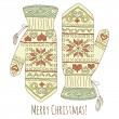 Hipster Christmas card with mittens — Stock Vector