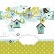 Spring background with bird houses, birds and flowers — ストックベクタ