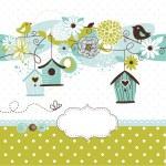våren bakgrund med fågelhus, fåglar och blommor — Stockvektor