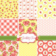 Shabby Chic Rose Patterns and seamless backgrounds. — Vettoriali Stock
