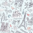 Stock Vector: Paris seamless doodles background