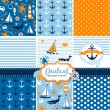Stock Vector: Set of 9 nautical backgrounds