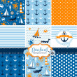 Постер, плакат: Set of 9 nautical backgrounds