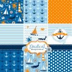 Set of 9 nautical backgrounds — Stock Vector