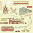 Samles pattern vintage trains — Stockvectorbeeld