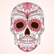 Day of The Dead colorful Skull with floral ornament  — Stock Vector